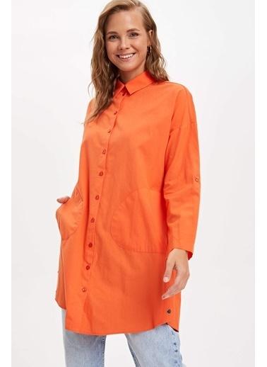 DeFacto Relax Fit Uzun Kollu Gömlek Tunik Oranj